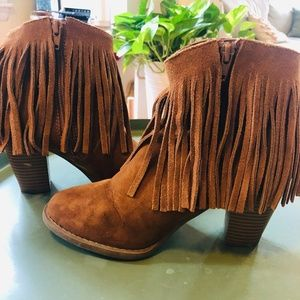 Shoes - Fringe Booties Faux Suade